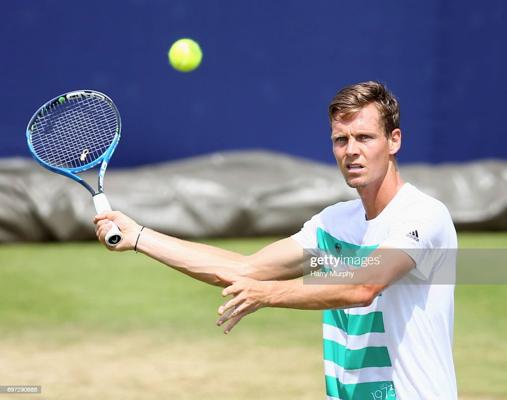 Tomas Berdych of Czech Republic prepares for a forehand shot during a practice session ahead of the Aegon Championships at Queens Club on June 18, 2017 in London, England.