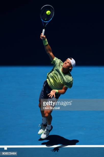 Tomas Berdych of Czech Republic serves in his fourth round match against Fabio Fognini of Italy on day eight of the 2018 Australian Open at Melbourne...