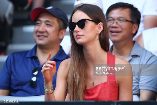 Tomas Berdych of Czech Republic wife Ester Satorova looks on during his match against Kyle Edmund of Great Britain during day one of the 2019...