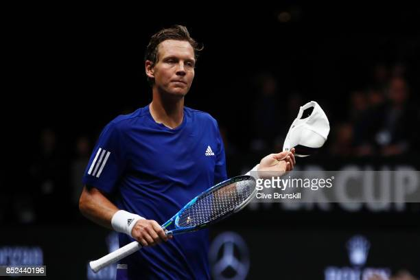 Tomas Berdych of Team Europe looks dejected after losing his singles match against Nick Kyrgios of Team World on Day 2 of the Laver Cup on September...