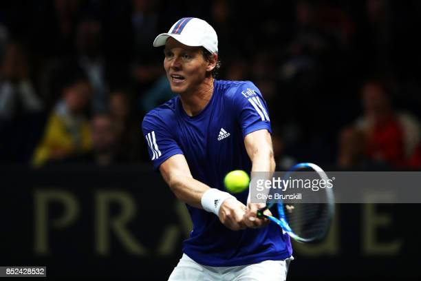 Tomas Berdych of Team Europe plays a backhand during his singles match against Nick Kyrgios of Team World on Day 2 of the Laver Cup on September 23...