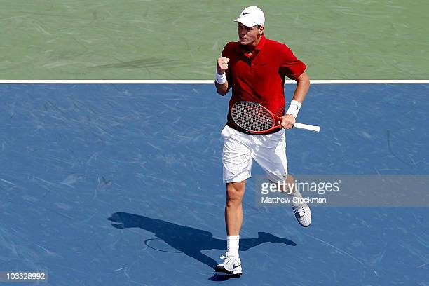 Tomas Berdych of the Czech Republic celebrates a point against Sergiy Stakhovsky of the Ukraine during the Rogers Cup at the Rexall Centre on August...