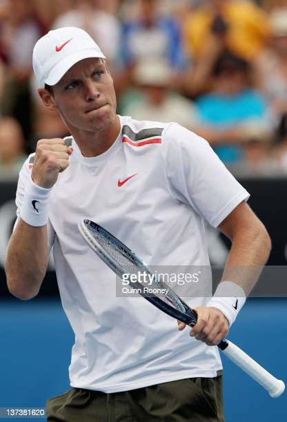 Tomas Berdych of the Czech Republic celebrates a point in his third round match against Kevin Anderson of South Africa during day five of the 2012...