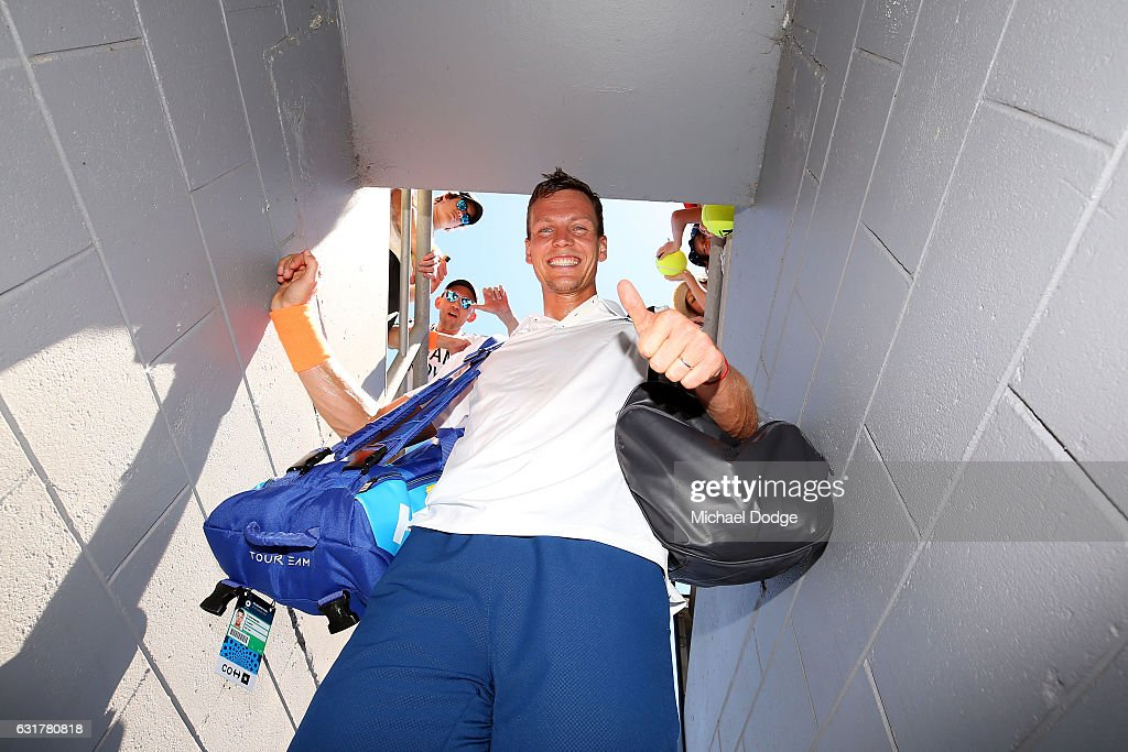 Tomas Berdych of the Czech Republic celebrates after winning his first round match against Luca Vanni of Italy on day one of the 2017 Australian Open at Melbourne Park on January 16, 2017 in Melbourne, Australia.