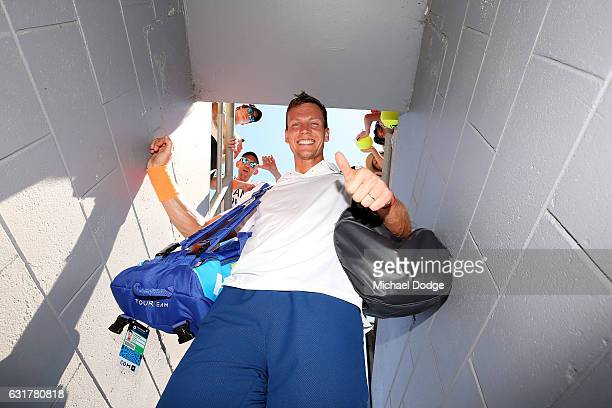 Tomas Berdych of the Czech Republic celebrates after winning his first round match against Luca Vanni of Italy on day one of the 2017 Australian Open...