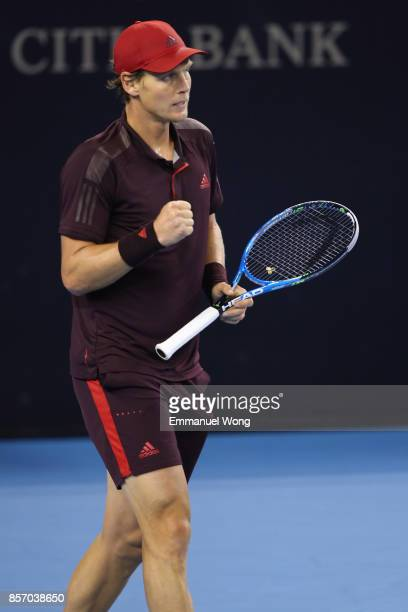 Tomas Berdych of the Czech Republic celebrates after winning the match against Jared Donaldson of the USA on day four of the 2017 China Open at the...