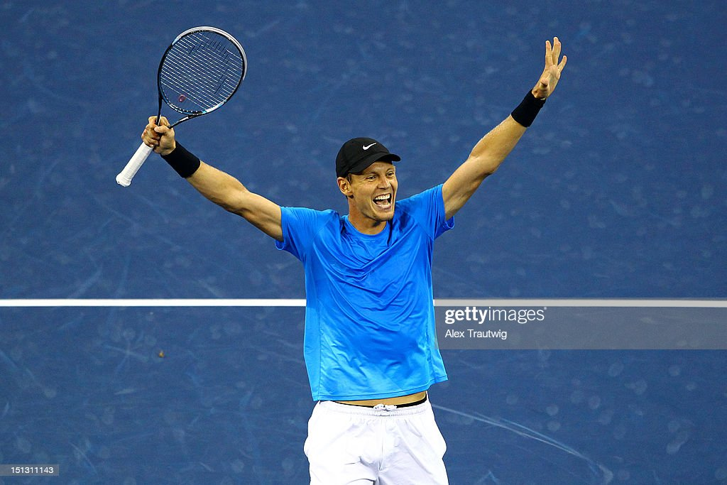 Tomas Berdych of the Czech Republic celebrates defeating Roger Federer of Switzerland after their men's singles quarterfinal match on Day Ten of the 2012 US Open at USTA Billie Jean King National Tennis Center on September 5, 2012 in the Flushing neighborhood of the Queens borough of New York City.