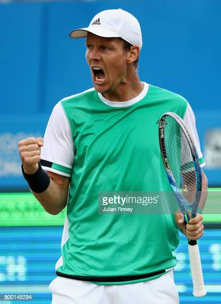Tomas Berdych of The Czech Republic celebrates during the mens singles quarter final match against Feliciano Lopez of Spain on day five of the 2017...