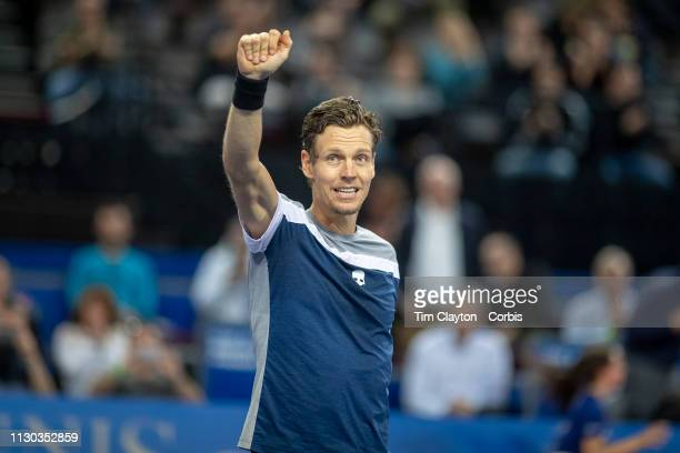 Tomas Berdych of the Czech Republic celebrates his victory against Filip Krajinovic of Serbia in the Men's QuarterFinal match during the Open Sud de...