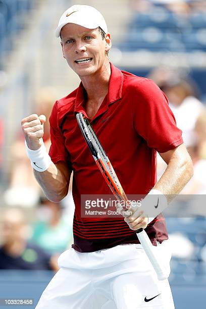 Tomas Berdych of the Czech Republic celebrates match point against Sergiy Stakhovsky of the Ukraine during the Rogers Cup at the Rexall Centre on...