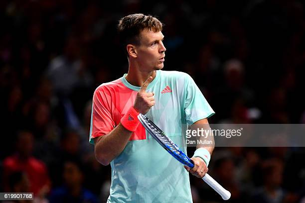 Tomas Berdych of the Czech Republic celebrates match point during his men's singles second round match against Joao Sousa of Portugal on day two of...