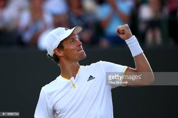 Tomas Berdych of The Czech Republic celebrates victory after the Gentlemen's Singles fourth round match against Dominic Thiem of Austria on day seven...