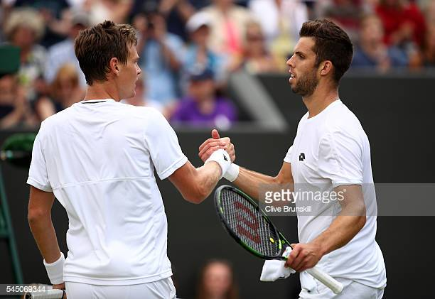 Tomas Berdych of The Czech Republic celebrates victory during the Men's Singles fourth round match against Jiri Vesely of Czech Republic on day eight...
