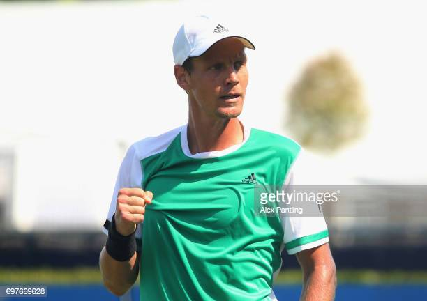 Tomas Berdych of The Czech Republic celebrates victory during the mens singles first round match against Steve Darcis of Belgium during day one of...