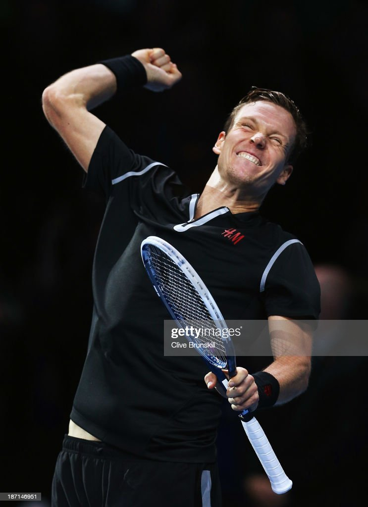 Tomas Berdych of the Czech Republic celebrates victory in his men's singles match against David Ferrer of Spain during day three of the Barclays ATP World Tour Finals at O2 Arena on November 6, 2013 in London, England.