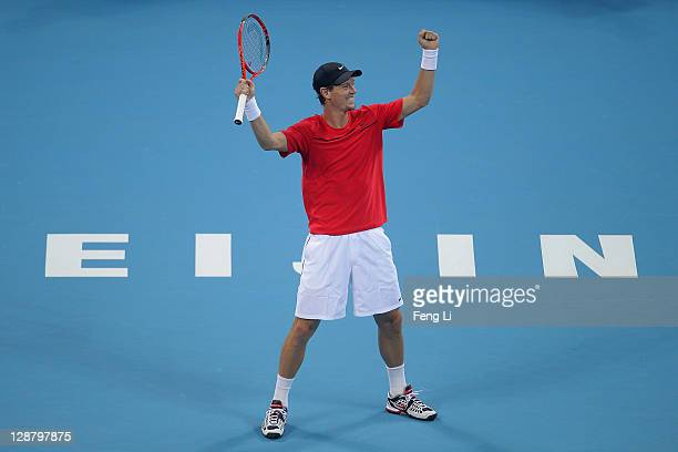 Tomas Berdych of the Czech Republic celebrates winning against Marin Cilic of Croatia during the men's final of China Open at the National Tennis...