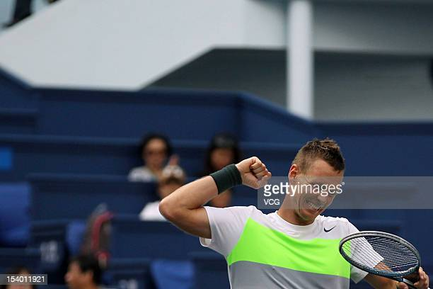 Tomas Berdych of the Czech Republic celebrates winning against Jo-Wilfried Tsonga of France during day six of the Shanghai Rolex Masters at the Qi...
