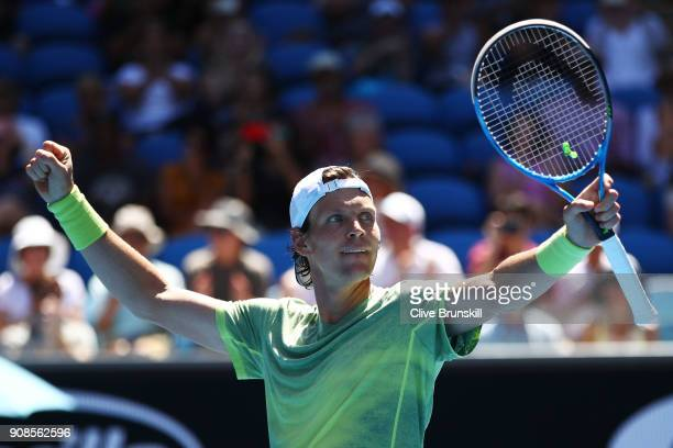 Tomas Berdych of the Czech Republic celebrates winning his fourth round match against Fabio Fognini of Italy on day eight of the 2018 Australian Open...