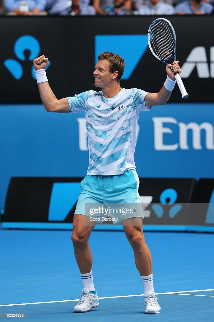 Tomas Berdych of the Czech Republic celebrates winning his quarterfinal match against Rafael Nadal of Spain during day nine of the 2015 Australian Open at Melbourne Park on January 27, 2015 in Melbourne, Australia.