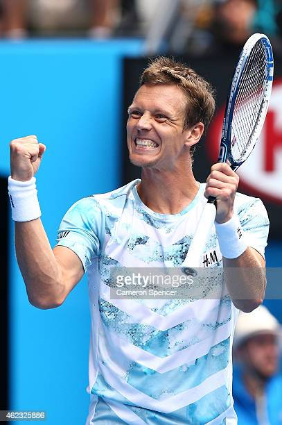 Tomas Berdych of the Czech Republic celebrates winning his quarterfinal match against Rafael Nadal of Spain during day nine of the 2015 Australian...