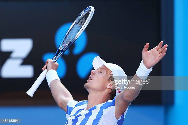 Tomas Berdych of the Czech Republic celebrates winning his quarterfinal match against David Ferrer of Spain during day nine of the 2014 Australian...