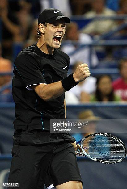 Tomas Berdych of the Czech Republic celebrates winning the second set tie break against John Isner during Day 5 of the Legg Mason Tennis Classic at...