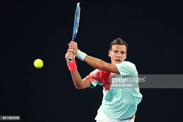 Tomas Berdych of the Czech Republic competes during day one of the 2017 World Tennis Challenge at Memorial Drive on January 10 2017 in Adelaide...
