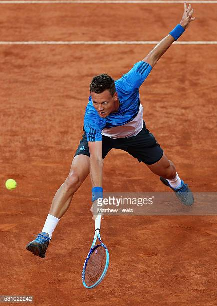 Tomas Berdych of the Czech Republic in action against David Goffin of Belguim during day five of The Internazionali BNL d'Italia 2016 on May 12 2016...