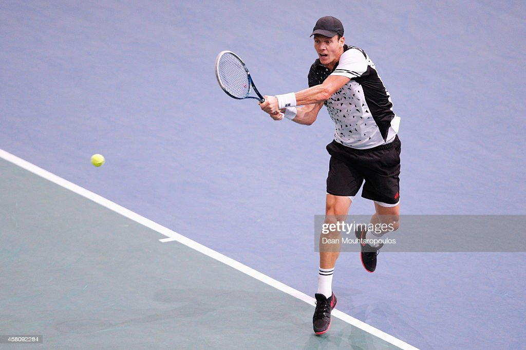 Tomas Berdych of the Czech Republic in action against Feliciano Lopez of Spain during day 4 of the BNP Paribas Masters held at the at Palais Omnisports de Bercy on October 30, 2014 in Paris, France.