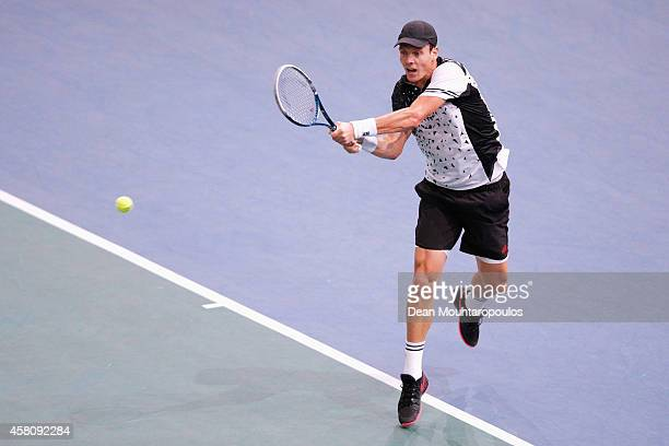 Tomas Berdych of the Czech Republic in action against Feliciano Lopez of Spain during day 4 of the BNP Paribas Masters held at the at Palais...