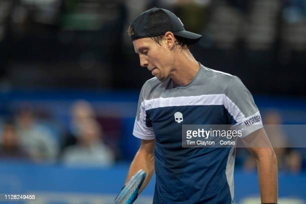 Tomas Berdych of the Czech Republic in action against Filip Krajinovic of Serbia in the Men's QuarterFinal match during the Open Sud de France Tennis...