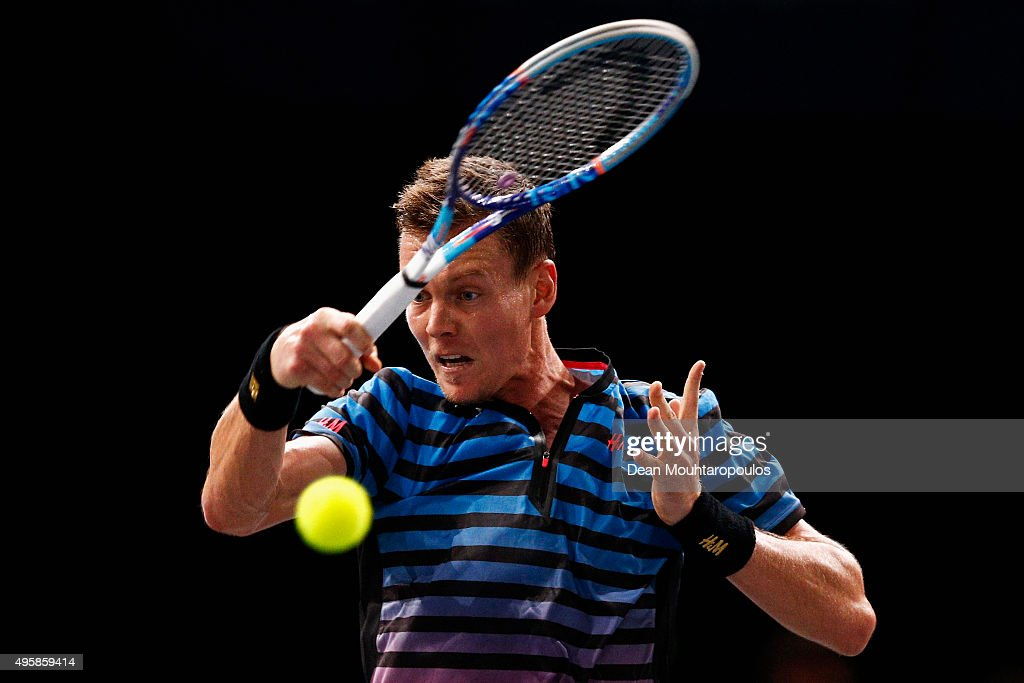 Tomas Berdych of the Czech Republic in action against Jo-Wilfried Tsonga of France during Day 4 of the BNP Paribas Masters held at AccorHotels Arena on November 5, 2015 in Paris, France.