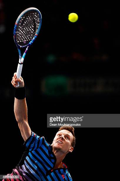 Tomas Berdych of the Czech Republic in action against JoWilfried Tsonga of France during Day 4 of the BNP Paribas Masters held at AccorHotels Arena...