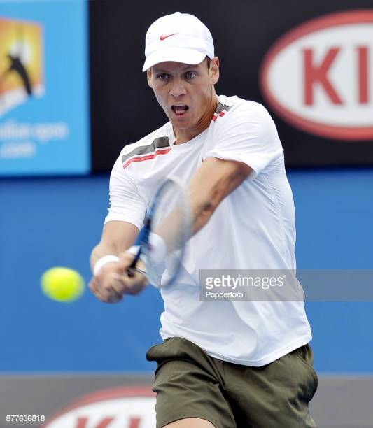 Tomas Berdych of the Czech Republic in action against Kevin Anderson of South Africa during a Men's Singles 3rd round match on day five of the 2012...