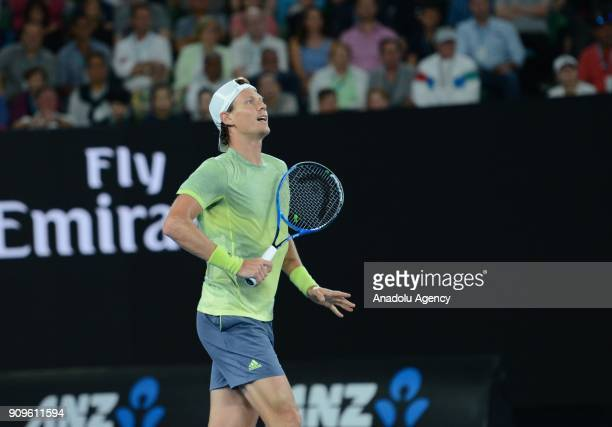 Tomas Berdych of the Czech Republic in action against Roger Federer of Switzerland on day 10 of the 2018 Australian Open at Melbourne Park on January...
