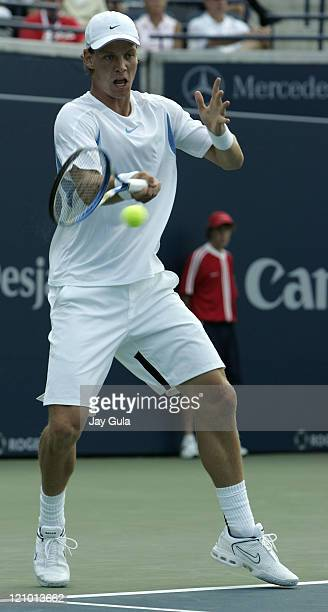 Tomas Berdych of the Czech Republic in action during his 3rd round match against Rafael Nadal of Spain in the Rogers Cup ATP Master Series tennis...