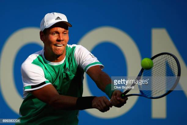 Tomas Berdych of The Czech Republic plays a backhand during the mens singles second round match against Denis Shapovalov of Canada on day three of...
