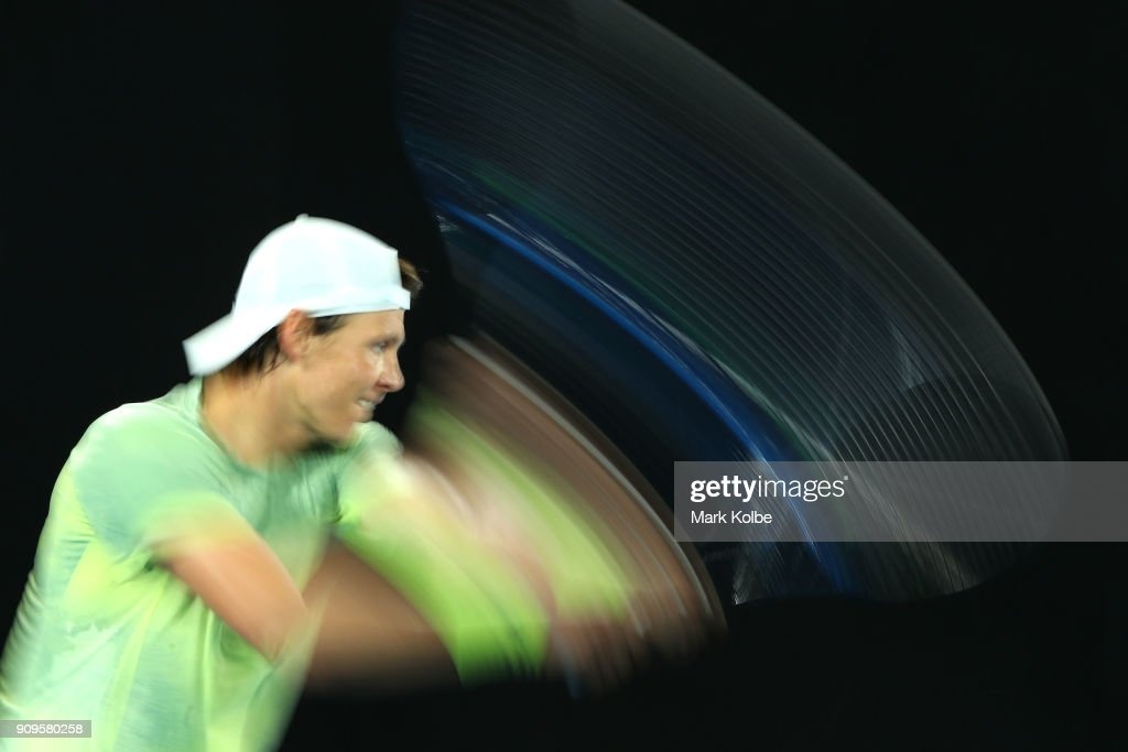Tomas Berdych of the Czech Republic plays a backhand in his quarter-final match against Roger Federer of Switzerland on day 10 of the 2018 Australian Open at Melbourne Park on January 24, 2018 in Melbourne, Australia.