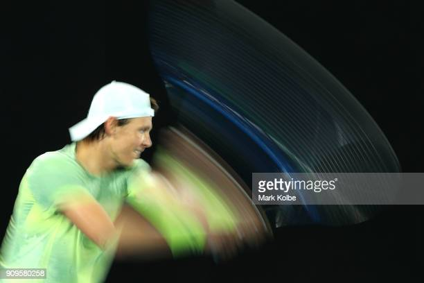 Tomas Berdych of the Czech Republic plays a backhand in his quarterfinal match against Roger Federer of Switzerland on day 10 of the 2018 Australian...