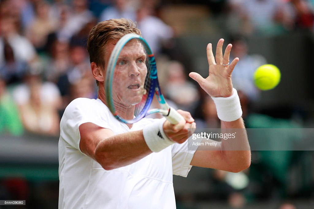 Tomas Berdych of The Czech republic plays a forehand during the Men's Singles third round match against Alexander Zverev of Germany on Middle Sunday of the Wimbledon Lawn Tennis Championships at the All England Lawn Tennis and Croquet Club on July 3, 2016 in London, England.