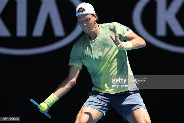 Tomas Berdych of the Czech Republic plays a forehand in his fourth round match against Fabio Fognini of Italy on day eight of the 2018 Australian...