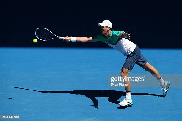 Tomas Berdych of the Czech Republic plays a forehandhis first round match against Yuki Bhambri of India during day one of the 2016 Australian Open at...