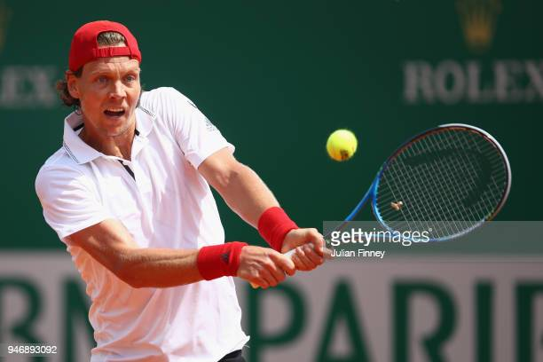 Tomas Berdych of the Czech Republic plays a shot in his match against Kei Nishikori of Japan during day two of ATP Masters Series Monte Carlo Rolex...