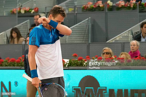 Tomas Berdych of the Czech Republic plays against Andy Murray of Great Britain in their quarter final round match during day seven of the Mutua...
