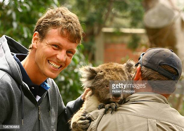 Tomas Berdych of the Czech Republic poses with a koala during a visit to Melbourne Zoo on day eight of the 2011 Australian Open at Melbourne Park on...