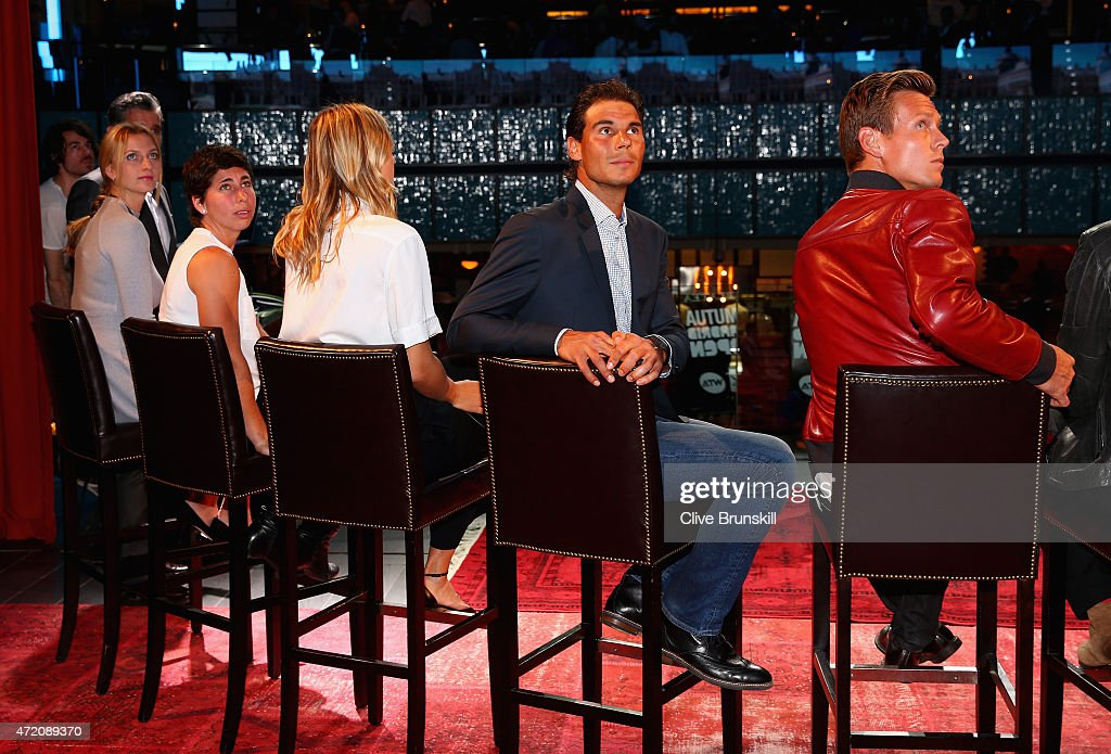 R-L Tomas Berdych of The Czech Republic, Rafael Nadal of Spain,Maria Sharapova of Russia,Carla Suarez Navarro of Spain and Petra Kvitova of the Czech Republic at the player party during day two of the Mutua Madrid Open tennis tournament at the Caja Magica on May 3, 2015 in Madrid, Spain.