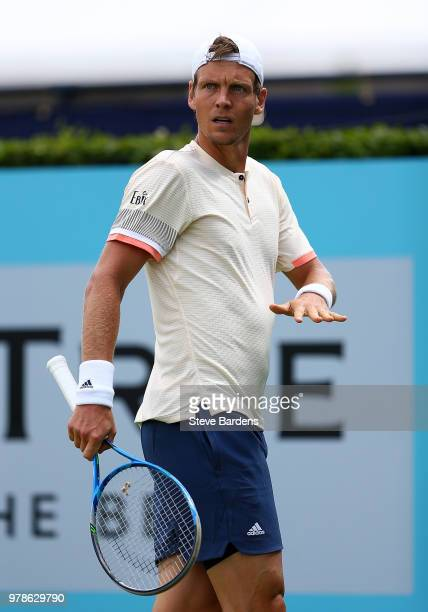 Tomas Berdych of The Czech Republic reacts during his match against Julien Benneteau of France on Day Two of the FeverTree Championships at Queens...