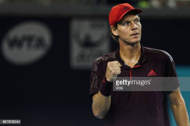 Tomas Berdych of the Czech Republic reacts during the Men's singles second round match against Andrey Rublev of Russia on day six of the 2017 China...