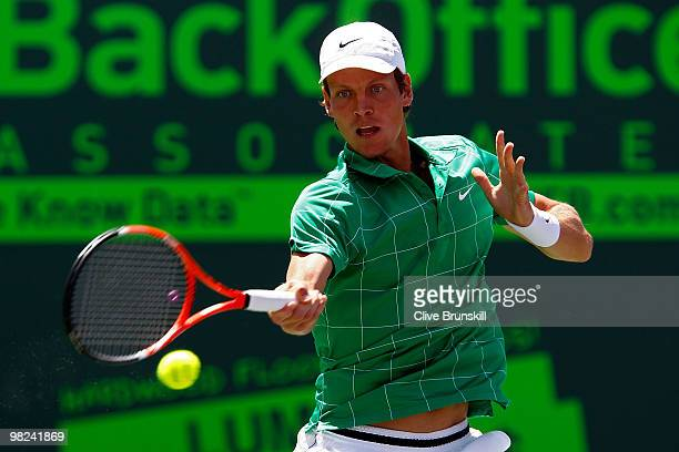 Tomas Berdych of the Czech Republic returns a shot against Andy Roddick of the United States during the men's final of the 2010 Sony Ericsson Open at...