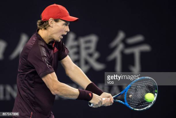 Tomas Berdych of the Czech Republic returns a shot during the Men's singles first round match against Jared Donaldson of the USA on day four of 2017...